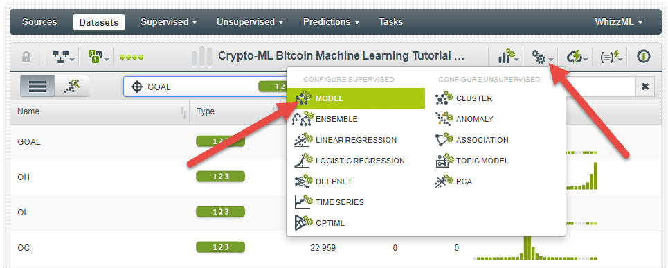 Crypto-ML BigML Create Model
